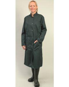 Damen-Berufskittel grün mit Druckknöpfen